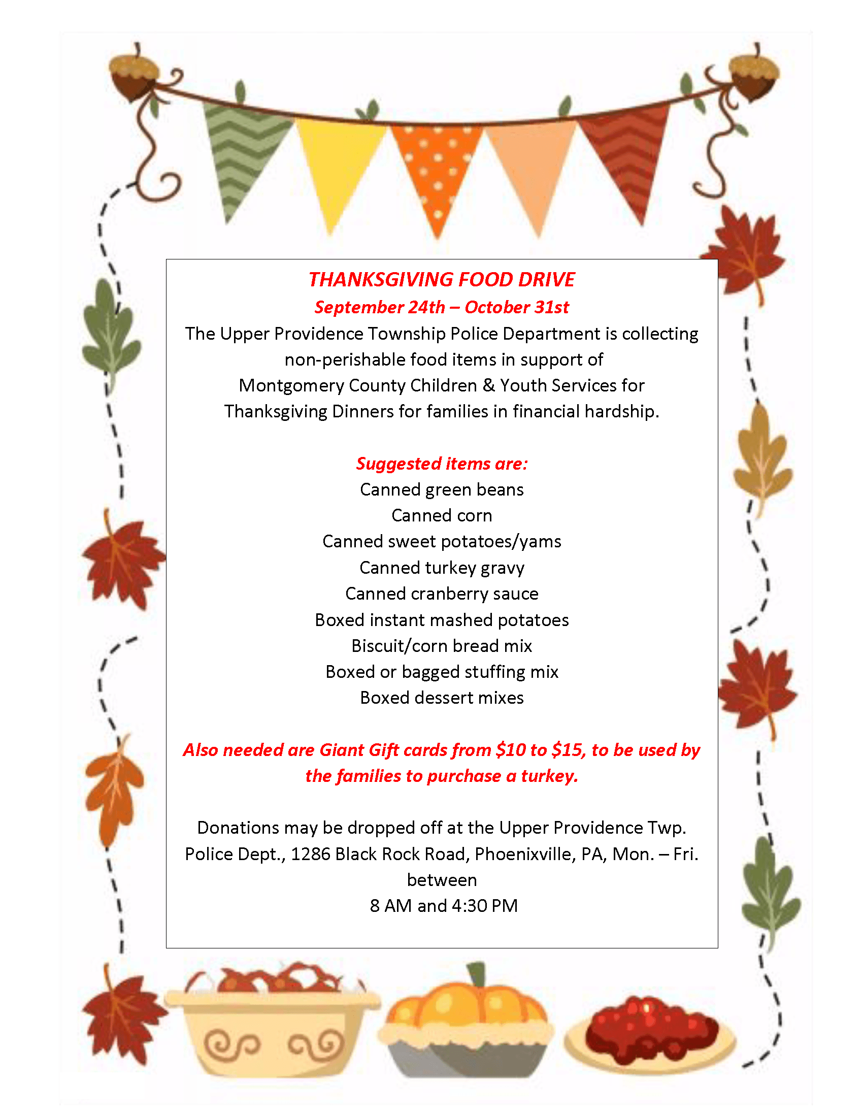 CYS Food Drive for Thanksgiving