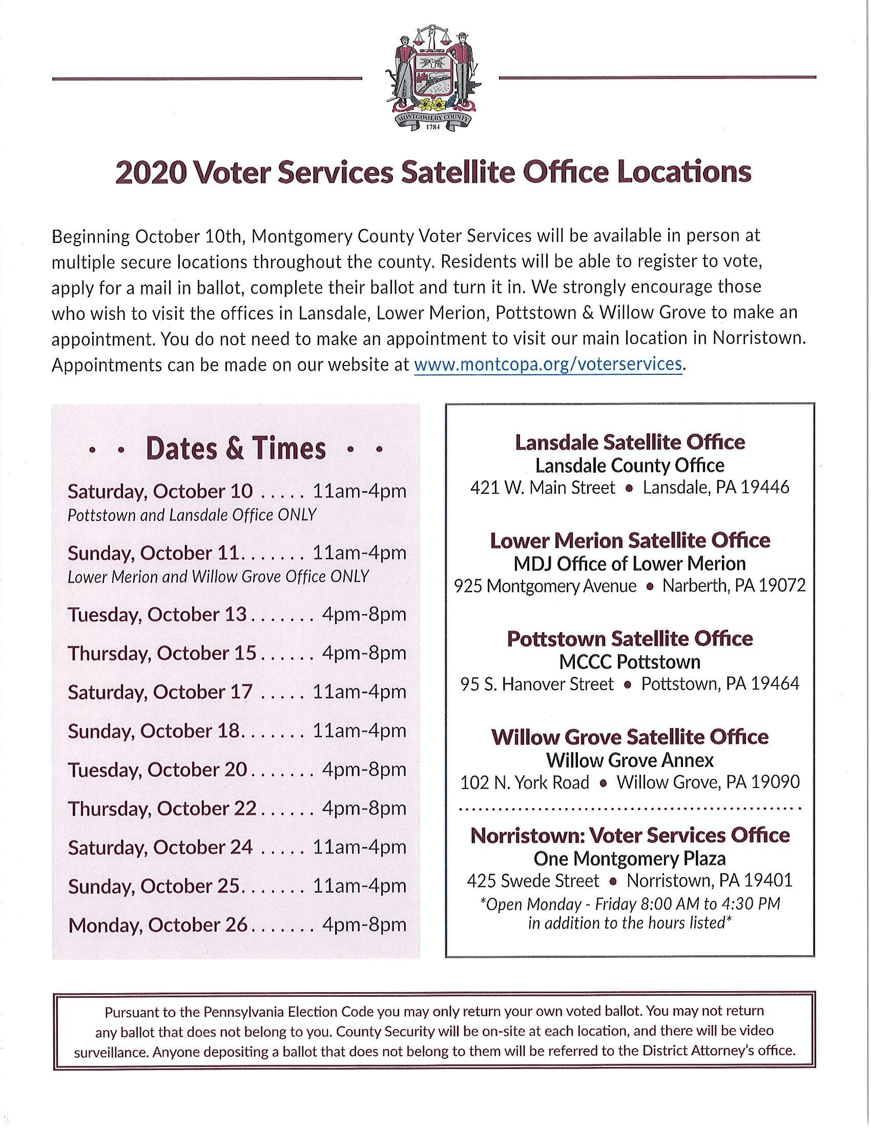 2020 Voter Services Satellite Office Locations