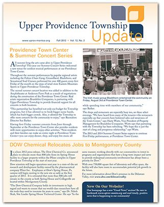 Upper Providence Newsletter Cover with text and a black and white image of a gathering with people s